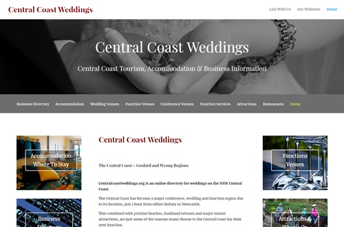 Central Coast Weddings Business Advertising